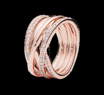 Pandora Rose Sparkling & Polished Lines Ring