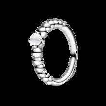 Milky White Beaded Ring