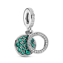 Sparkling Green Disc Double Dangle Charm