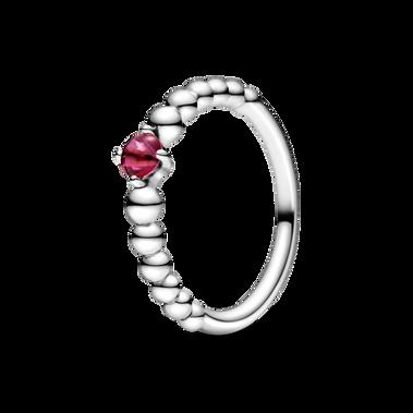 Blazing Red Beaded Ring