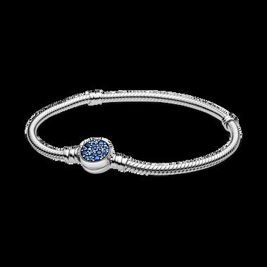 Pandora Moments Sparkling Blue Disc Clasp Snake Chain Bracelet