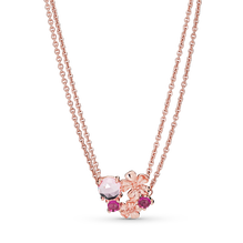 Pink Peach Blossom Flower Double Chain Necklace