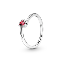 Red Tilted Heart Solitaire Ring