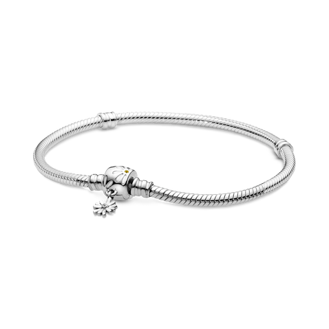 Pandora Moments Daisy Flower Clasp Snake Chain Bracelet
