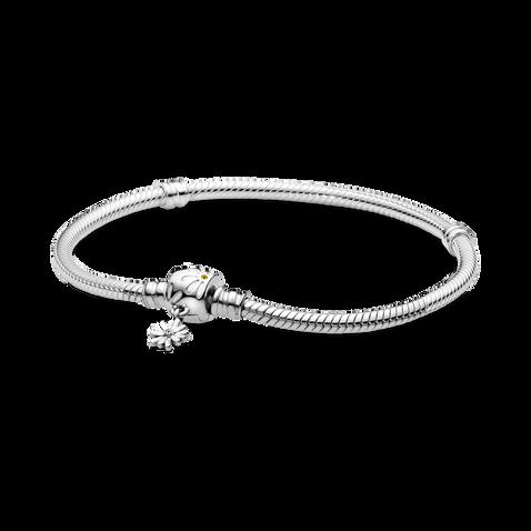 Pandora Moments Daisy Flower Clasp Snake Chain Bracelet
