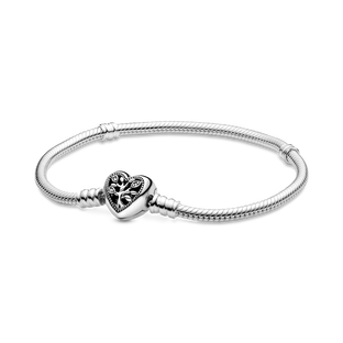 Pandora Moments Family Tree Heart Clasp Snake Chain Bracelet
