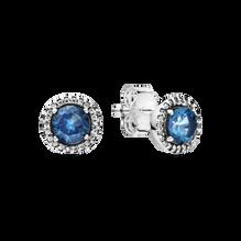 Blue Round Sparkle Stud Earrings