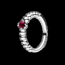 Dark Red Beaded Ring