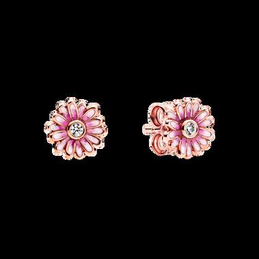 Pink Daisy Flower Stud Earrings