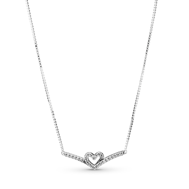 Sparkling Wishbone Heart Collier Necklace