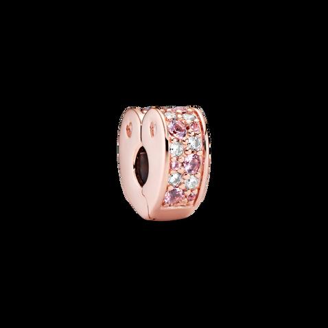 Pink Pavé Heart Clip Charm