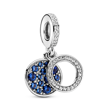 Sparkling Blue Disc Double Dangle Charm
