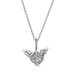 Pavé Heart and Angel Wings Necklace