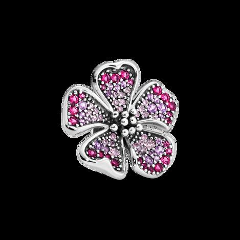 Pink Oversized PavéPeach Blossom Flower Charm