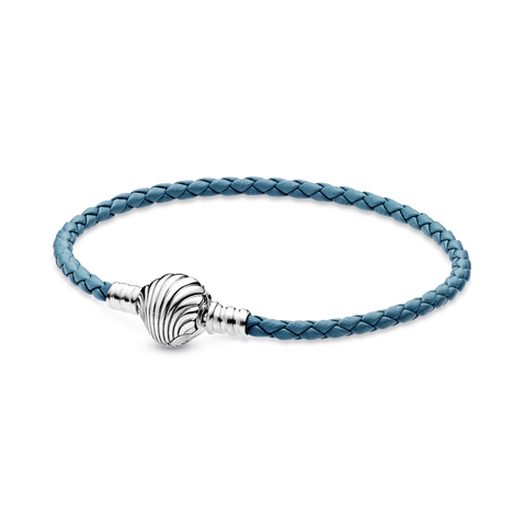 Pandora Moments Seashell Clasp Turquoise Braided Leather Bracelet