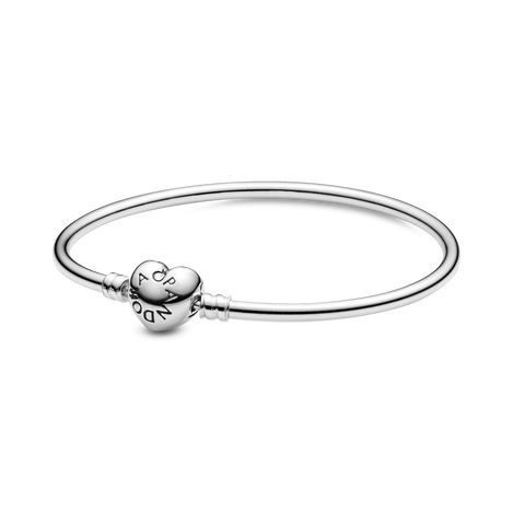 MOMENTS Sterling Silver Bangle with Logo Heart Clasp