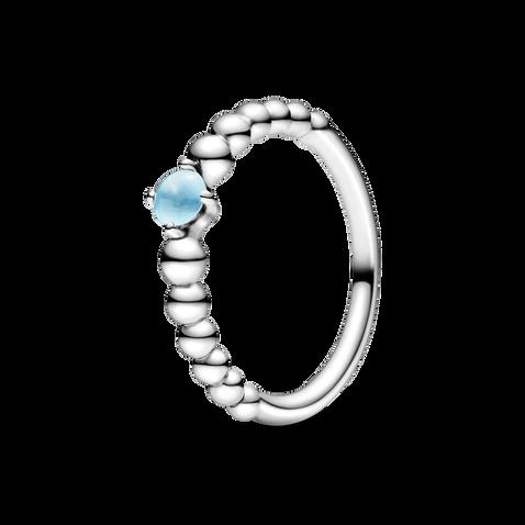Sky Blue Beaded Ring