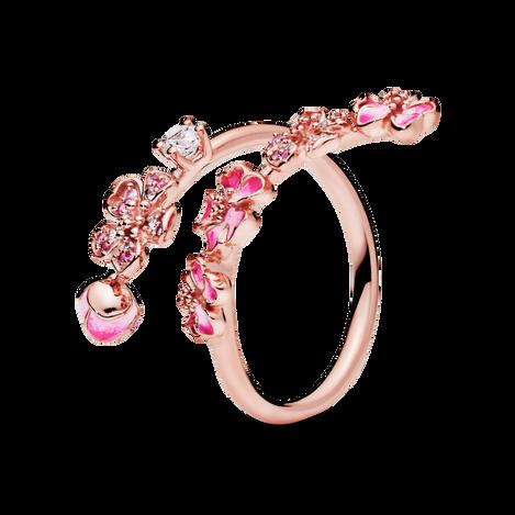 Pink Peach Blossom Flower Branch Open Ring