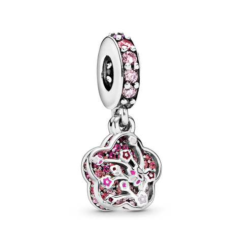 Pink Pavé Peach Blossom Flower Dangle Charm