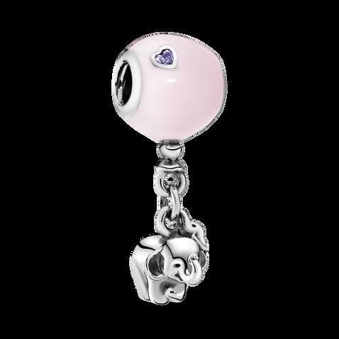 Elephant & Pink Balloon Dangle Charm