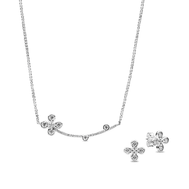 Four-Petal Flower Necklace & Earrings Gift Set