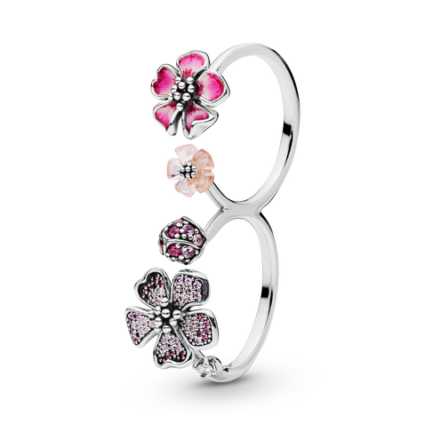 Pink Peach Blossom Flower Double Finger Ring