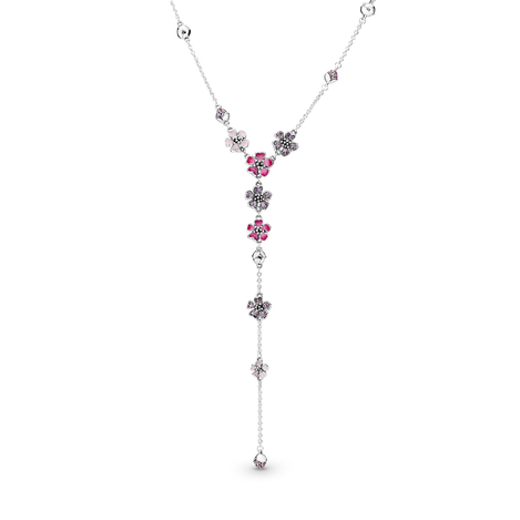 Pink Peach Blossom Flower Y-Necklace