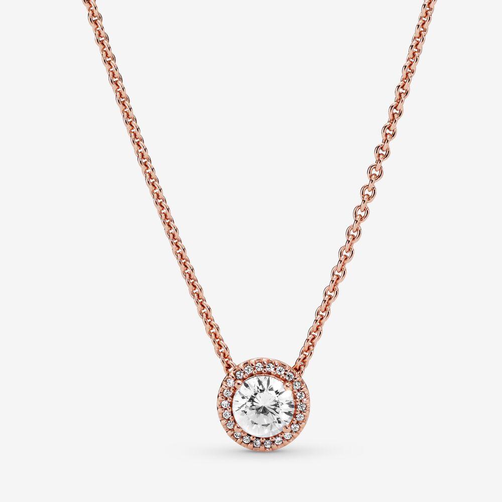 Round Sparkle Halo Necklace | Pandora SG