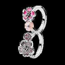 Pink Peach Blossom Flower Double Finger Ring