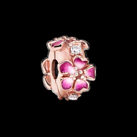 Pink Peach Blossom Flower Clip Charm