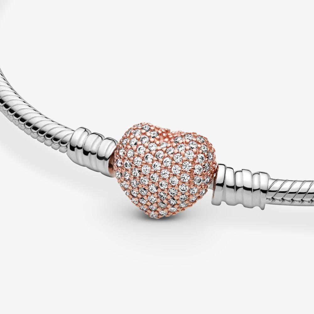 Pandora Moments Pavé Heart Clasp Snake Chain Bracelet | Pandora SG