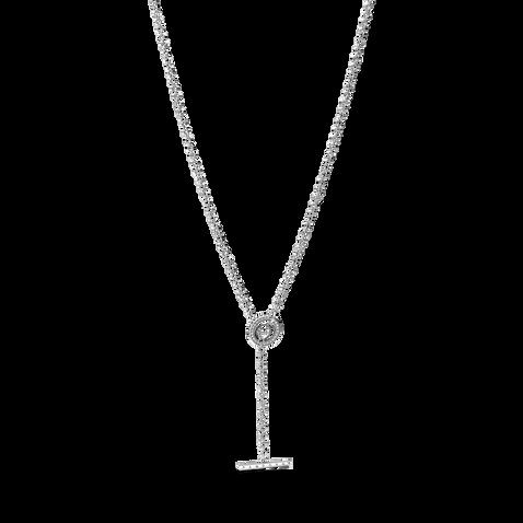 Pavé Circle Logo T-bar Heart Necklace