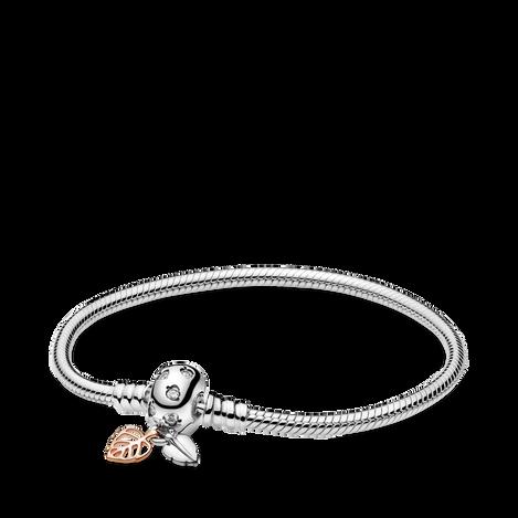 Pandora Moments Leaves & Snake Chain Bracelet
