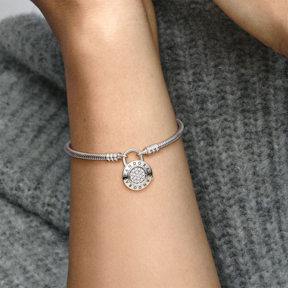 Pandora Moments Pavé Padlock Clasp Snake Chain Bracelet | Pandora SG