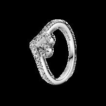 Sparkling Wishbone Heart Ring