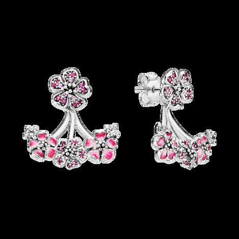 Pink Peach Blossom Flower Stud Earrings