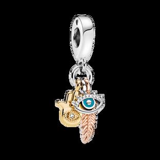 Hamsa, All-seeing Eye & Feather Spirituality Dangle Charm